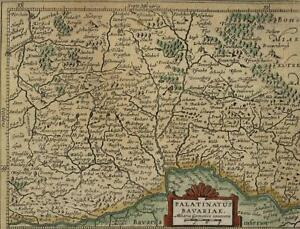 Bavaria Southern Germany Beautiful Antique C 1628 Mercator Minor Old Map