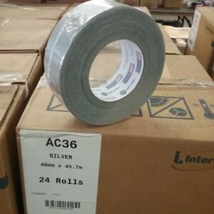 Intertape Ac36 Cloth Duct Tape 1 88 In X 60 Yards Silver 24 Rolls