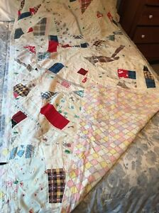 Antique Vtg Hand Tied Quilt White Blue Red Twin 80 X42 Pastel Backing