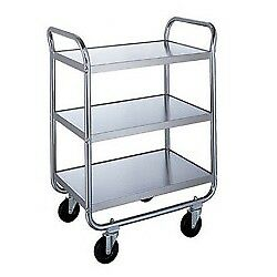 Medium Duty Three Shelf Stainless Steel Utility Cart 17 1 2 X 27 X 35 3 4