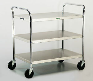 Three Shelf Stainless Steel Utility Cart With Chrome Plated Legs And Frame