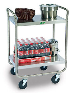 Medium Duty Two Shelf Stainless Steel Utility Cart 20 X 30 X 35 3 4 1 Ea