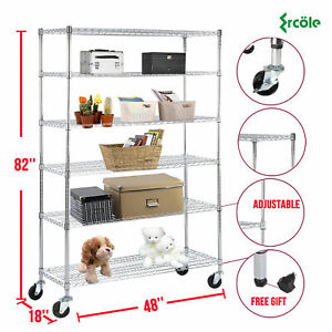 Heavy Duty Adjustable 6 Tier 82 x46 x18 Wire Shelving Rack Steel Shelf Layer