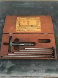 Vintage Lufkin 515 New Style Micrometer Depth Gage Set Machinist Tool Starrett