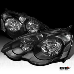 Fit 2002 2004 Acura Rsx Dc5 Black Clear Jdm Headlights Driving Head Lamps Pair