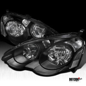 Fit 2002 2004 Acura Rsx Dc5 Black Jdm Headlights Driving Head Lamps Pair