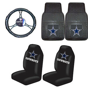 Football Dallas Cowboys Floor Mat Set With Seat Cover Steering Wheel Cover