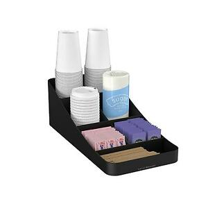 Mind Reader Trove 7 Compartment Coffee Condiment Organizer Black