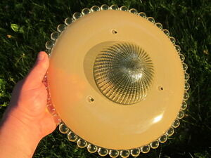 Art Deco Mid Century Modern Antique Tan Candlewick Glass Ceiling Light Shade