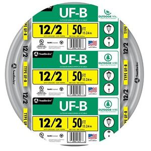 Southwire 12 Awg 2 Uf Wire 50 ft Indoor Outdoor Electrical Cable Insulated New