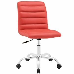 Modway Ripple Mid Back Armless Swivel Office Chair In Red