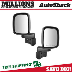 Side View Mirror Manual Black Pair 2 For 2003 2005 2006 Jeep Wrangler 2 4l 4 0l