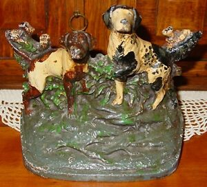Vintage Cast Iron Doorstop Two English Pointers 14472