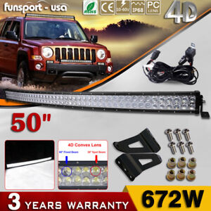 4d Curved 52inch Led Light Bar Combo 20 4 Pods For Offroad Jeep Ford 4wd Suv