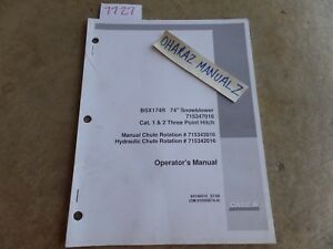 Case Bsx174r 74 Snowblower 715347016 Cat 1 2 3 point Hitch Operator s Manual