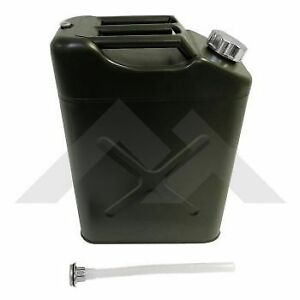 Jeep 5 Gallon 20 Liter Gas Tank Jerry Can Metal In Olive With Plastic Nozzle