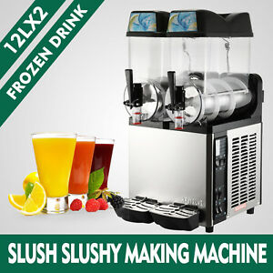 2 Tanks 24l Commercial Frozen Drink Slush Slushy Machine Slush Maker Coldness