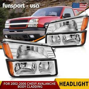 For 2002 2006 Chevy Avalanche Body Cladding Chrome Headlights bumper Signal Lamp