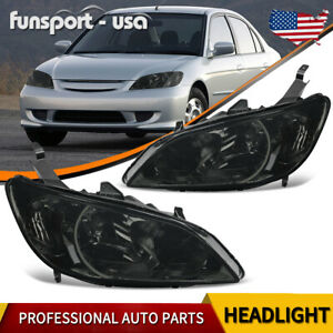 Headlights Assembly For 2004 2005 Honda Civic 2dr 4dr Black Headlamps Left Right