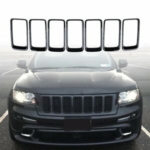 7pcs Black Front Grill Mesh Ring Insert Cover For Jeep Grand Cherokee 2014 2016