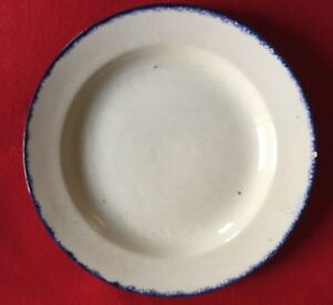 Big Antique Pearlware Dinner Soup Plate Blue Feather Edge 19th C Staffordshire