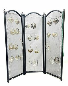 3 Panel Folding Screen Earring Jewelry Display Foldable Easy To Travel With