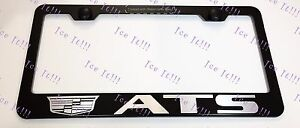 Cadillac Ats Logo Laser Style Stainless Steel Black License Plate Frame Caps