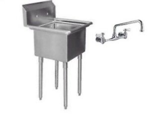 One Compartment 1 Stainless Steel Utility Prep Mop Sink 22 X 20 With Faucet