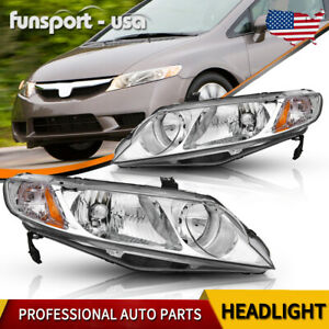 Headlights Assembly For 2006 2011 Honda Civic Sedan 4dr Chrome Housing Headlamps