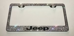 For Jeep Stainless Steel License Plate Frame W Swarovski Crystals