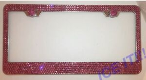 Made W Pink Swarovski Crystal Bling License Plate Frame 6 Rows Large Crystals