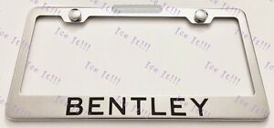 Bentley Stainless Steel License Plate Frame Rust Free W Bolt Caps