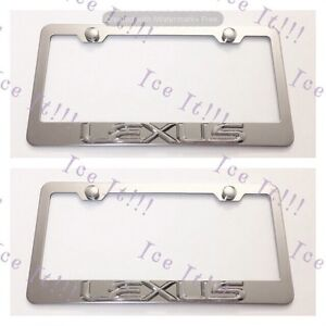 2x 3d Lexus Emblem Stainless Steel License Plate Frame Rust Free W Caps