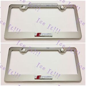 2x 3d Audi S Line Emblem Stainless Steel License Plate Frame Rust Free W Caps