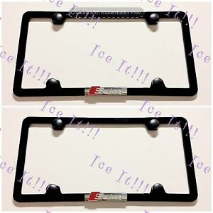 2x Audi S Line 3d Black Stainless Steel License Plate Frame Rust Free W Caps