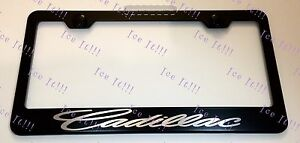 Cadillac Script Stainless Steel Black License Plate Frame Rust Free W Caps