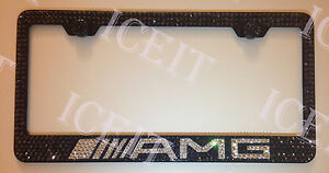 Mercedes Amg Stainless License Plate Frame Black Madewith Swarovski Crystals