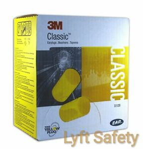 3m E a r Classic Ear Plugs Noise Reduction 29db Yellow Foam 1 case 10 boxes