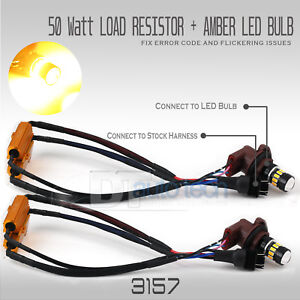 Error Free 3157 High Power Led Amber Yell Ow Turn Signal Light Bulbs Resistors
