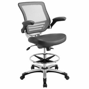 Modway Edge Faux Leather Mesh Drafting Stool In Gray