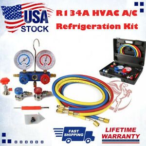 Automotive R134a Hvac A C Refrigeration Kit Ac Manifold Gauge Set Serivice Kit