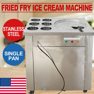 Stainless Steel Commercial Fried Ice Cream Machine 1 pan 6 boxes Roll Making Ups