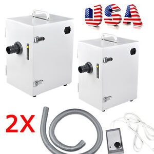 2x Portable Dental Lab Digital Single row Dust Collector Vacuum Cleaner Machine
