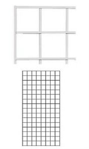 Set Of 2 Gridwall Panels 2 X 4 Grid Wall Display White Panel Steel Wire