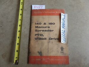 Case 140 180 Manure Spreader Pto V belt Drive Operator s Manual 9 4009 3