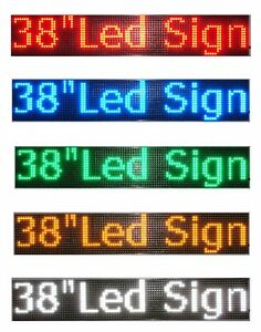 Led Sign 38 x6 5 red Green Blue White Amber Scrolling Programmable Message Board