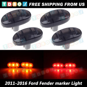 4pcs Amber Red Dually Bed Side Marker Led Lamps For 2011 2016 F250 F350 Truck