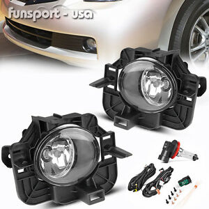 For 07 09 Nissan Altima 4dr Clear Front Bumper Fog Light Lamps Switch Wiring Kit