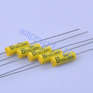 50pcs Tubular Poly Polyester Film Capacitor Axial 0 01uf 103 630v Guitar Amp