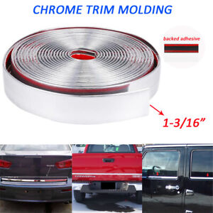 Car Molding Trim 1 Wide Chrome 16feet Auto Body Door Roof Bumper Decorate Strip